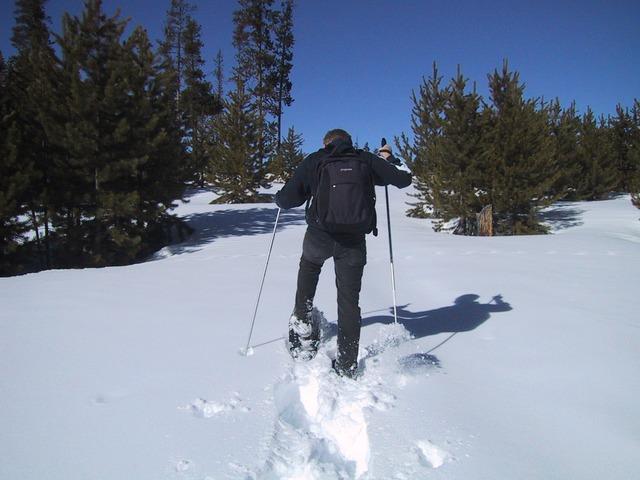 Schneeschuhangebot - eine Person im Tiefschnee