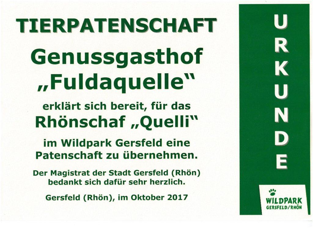 Wildpark Gersfeld - Urkunde Partenschaft Rhönschaf quelli